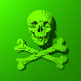 Low-poly rendered skull illustration. 3d Low-poly mesh green skull illustration on colorful background Stock Photos