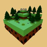 Low poly rendering of a stonehenge scene, 3d illustration. Low poly rendering of a stonehenge scene in a yellow background Royalty Free Stock Photo
