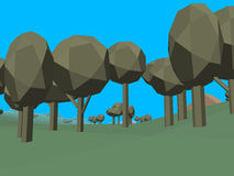 Low poly retro style landscape Stock Images