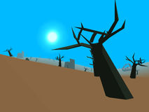 Low poly retro style moorland. With blue sky Royalty Free Stock Image