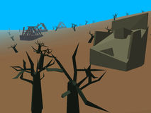 Low poly retro style moorland. With trees Royalty Free Stock Photography