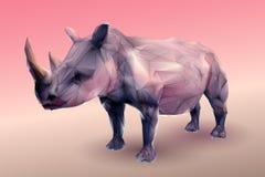 Low poly rhinoceros on peach tone background Royalty Free Stock Photo