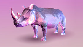 Low poly rhinoceros on pink background Stock Image