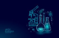 Low poly science chemical glass flasks. Magical equipment microscope zoom lens polygonal triangle blue glowing research. Future technology business medicine Stock Photo