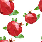 Low poly seamless pattern with Pomegranate. Royalty Free Stock Images