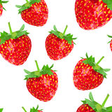 Low poly seamless pattern with strawberries. Royalty Free Stock Images