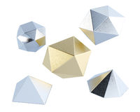 Low poly shapes isolated on white background. 3d rendering Royalty Free Stock Photo