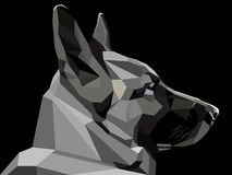 Low poly shepherd snout. Vector low poly style monochrome shepherd snout Royalty Free Stock Photography