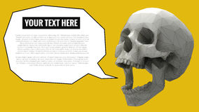 Low poly skull with balloon for text on yellow BG Royalty Free Stock Photography