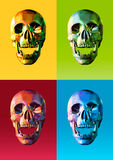 Low poly skull front with colorful pop art style. Low poly skull front in open mouth action with four colorful pop art style Stock Photography
