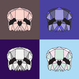 Low poly skull set. Four color variations. Geometric line art Stock Image