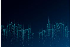 Low poly smart city 3D wire mesh. Intelligent building automation system business concept. High skyscrapers border. Pattern background. Architecture urban stock illustration