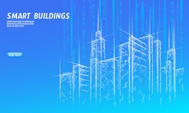 Low poly smart city 3D wire mesh. Intelligent building automation system business concept. Web online computer vector illustration
