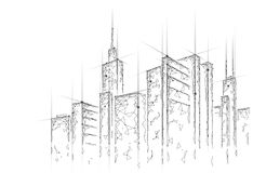 Low poly smart city 3D wire mesh. Intelligent building automation system business concept. Web online computer. Networking. Architecture urban cityscape royalty free illustration