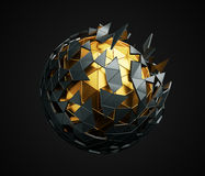 Low Poly Sphere with Chaotic Structure. Royalty Free Stock Photo