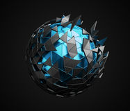 Low Poly Sphere with Chaotic Structure. Royalty Free Stock Images