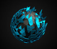 Low Poly Sphere with Chaotic Structure. Abstract 3d rendering of low poly sphere with chaotic structure. Sci-fi background with polygonal shape in empty space royalty free illustration