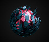 Low Poly Sphere with Chaotic Structure. Royalty Free Stock Image