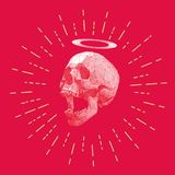 Low poly stripe skull with starburst drawing. Low poly vector skull and halo ring with stripe line on starburst drawing red background Stock Image
