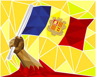 Low Poly Strong Hand Raising The Flag Of Andorra. A Low Poly Strong Man's Hand Raising The Flag Of Andorra Stock Images