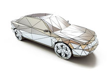 Low-poly style car. Isolated chrome low-poly style car. 3d concept Royalty Free Stock Photo