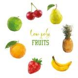 Low poly style fruits. Cherry pinapple apple banana strawberry orange. Isolated Royalty Free Stock Photo