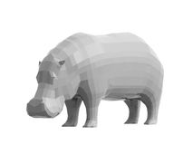 Low poly style hippo. 3D render of low poly style hippo Royalty Free Stock Image