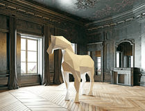 Low-poly style horse. In the luxury interior. 3d rendering concept Stock Image