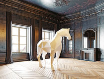 Low-poly style horse. In the luxury interior. 3d rendering concept Stock Photos