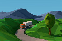 Low poly style landscape with truck on the road