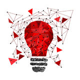 Low Poly Style Light red bulb. Vector abstract Illustration on isolated background. Idea concept. T-shirt design Vector Illustration