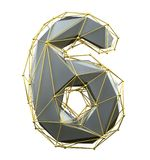 Low poly style number 6. Silver and gold color isolated on white background. 3d royalty free illustration