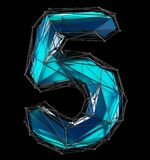Low poly style number 5. Blue color isolated on black background. 3d Stock Image