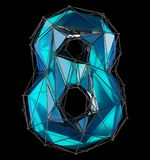 Low poly style number 8. Blue color isolated on black background. 3d Stock Photography