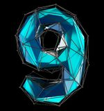 Low poly style number 9. Blue color isolated on black background. 3d Stock Photo