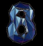 Low poly style number 8. Blue color isolated on black background. 3d. Rendering stock images
