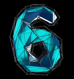 Low poly style number 6. Blue color isolated on black background. 3d Stock Photo