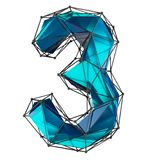 Low poly style number 3. Blue color isolated on white background. 3d stock photos