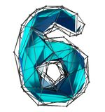Low poly style number 6. Blue color isolated on white background. 3d royalty free stock images