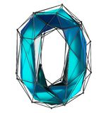 Low poly style number 0. Blue color isolated on white background. 3d royalty free stock image