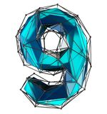 Low poly style number 9. Blue color isolated on white background. 3d stock photo