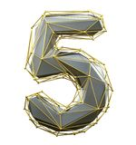 Low poly style number 5. Silver and gold color isolated on white background. 3d royalty free illustration