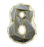Low poly style number 8. Silver and gold color isolated on white background. 3d vector illustration
