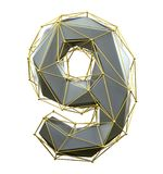 Low poly style number 9. Silver and gold color isolated on white background. 3d vector illustration