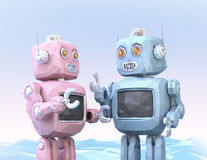 Low poly style robots are enjoyed chatting with each other. 3D rendering image Stock Images