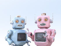 Low poly style robots are enjoyed chatting with each other. 3D rendering image Royalty Free Stock Photography