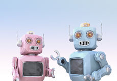 Low poly style robots are enjoyed chatting with each other. 3D rendering image Royalty Free Stock Image