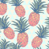Low poly style seamless pattern with pineapple in . Geometric illustration. Stock Photos