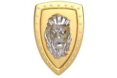 Low poly style steel lion head with golden shield. 3D illustrati. On vector illustration