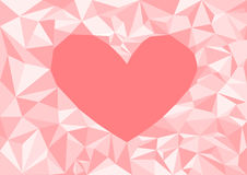 Low poly style vector,heart pink low poly design, low poly style illustration, Abstract low poly background vector, Vector geometr Royalty Free Stock Photo